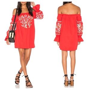 Free People Fleur Du Jour Red Shift Dress Small